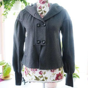 Rebecca Taylor Gray Button Up Jacket w/Hood